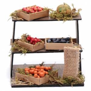 Belén napolitano: Puesto con fruta y verdura 10x10x10 cm pesebre napolitano