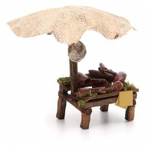 Puesto de mercado para belén con sombrilla, carne y embutidos 16x10x12 cm s3
