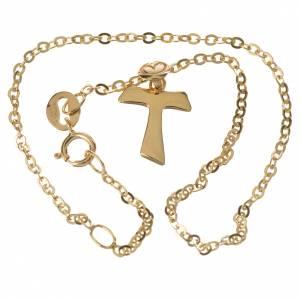 Pulseras de plata y oro: Pulsera con Cruz Tau en oro 750/00 - gr. 1,09