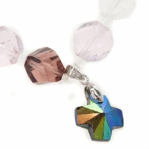 Pulsera cristal cuentas y cruz s2