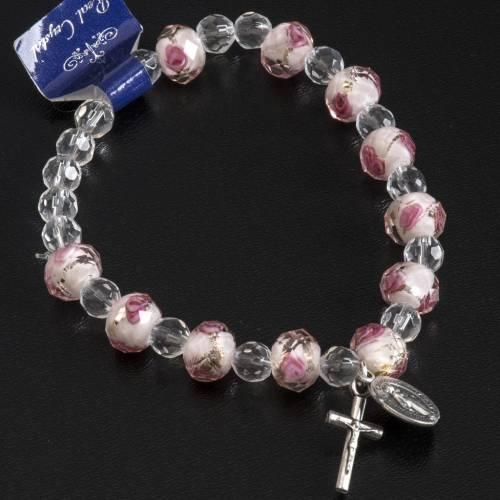 Pulsera elástica cristal 7mm blanco y rosado s3