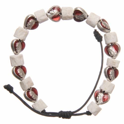 Pulsera piedra blanca Medjugorje y corazones s2