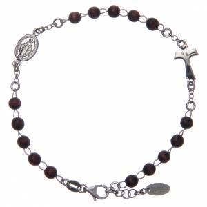 Pulseras AMEN: Pulsera rosario AMEN Tau plata 925 madera marrón