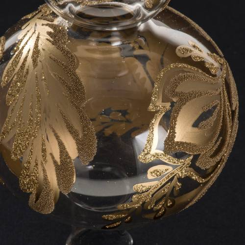 Puntale albero Natale vetro trasparente dipinto a mano s3