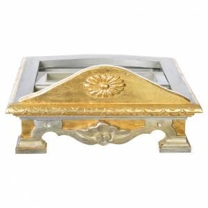 Pupitre de table bois feuille argent or s4