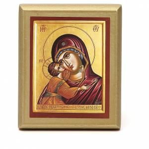 STOCK Quadretto Madonna manto rosso bordo oro 10x6,5 cm s1