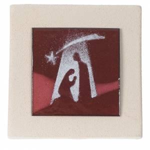 Presepe Stilizzato: Quadretto Sacra Famiglia argilla Centro Ave 10 cm