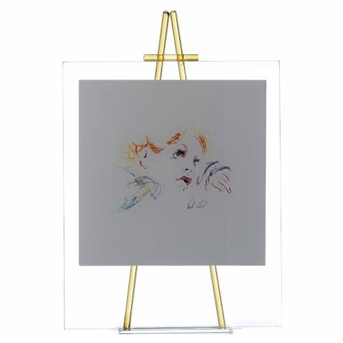 Quadro acquerello Eccomi da appoggio 27x32 cm topazio s1