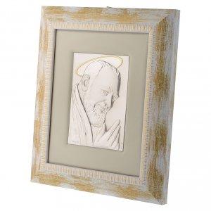 Quadro Padre Pio da Pietrelcina argento s3