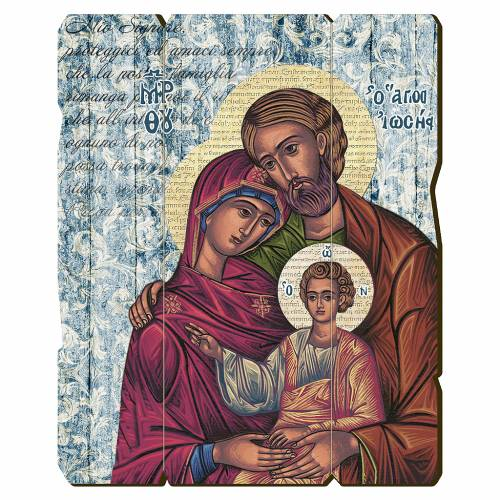 Quadro legno sagomato gancio retro Icona Sacra Famiglia s1