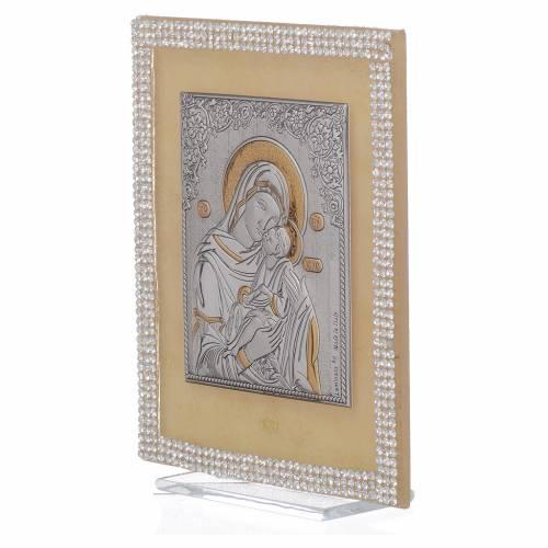 Quadro Maternità ortodosso Swarovski Bianchi 14x11 cm s2