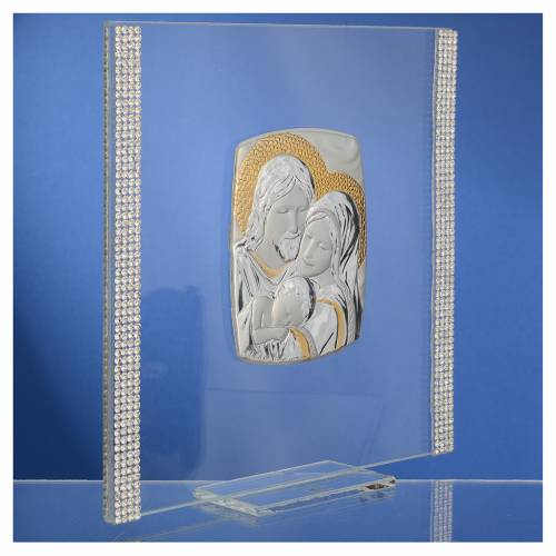Quadro Matrimonio S. Famiglia Arg. e strass 17,5x17,5 cm s3