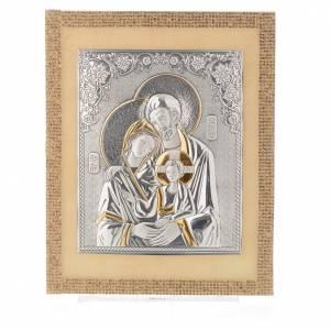 Quadro S. Famiglia ortodosso Swarovski Oro e Arg. 25x20 cm s4