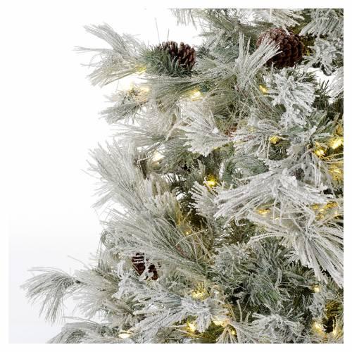 Árbol de Navidad marrón 230 cm escarchado piñas y purpurina 450 luces LED s3