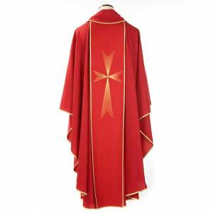 Chasubles: Red chasuble in wool with Holy Spirit and roses