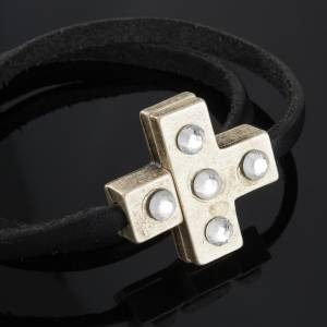 Religious bracelet in leather with cross and Swarovski s5