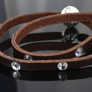 Religious bracelet in leather with sphere and Swarovski s8