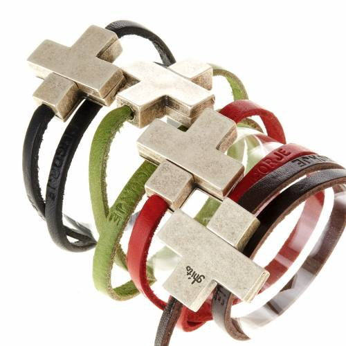 Religious bracelet in leather with zamak cross lenght 34 cm s1