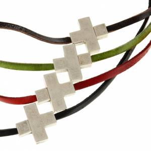 Religious necklace in leather with cross s1