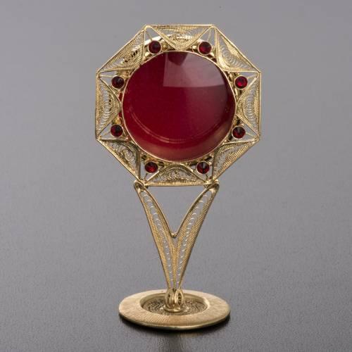 Reliquiario filigrana argento 800 dorato decori pietre rosse s2