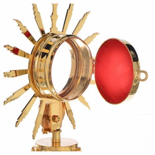 Reliquiario ottone dorato con putto h 18 cm s3