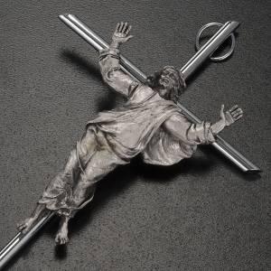 Resurrected Christ, silver metal wall crucifix s3