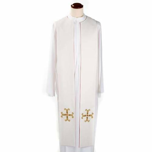 Reversible liturgical stole white red, cross and glass stones s5