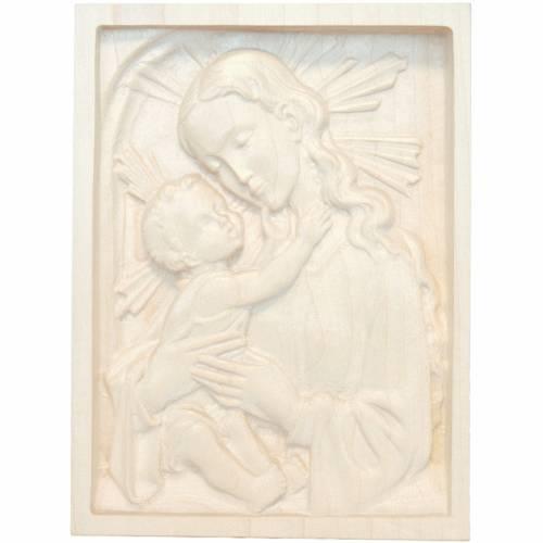 Rilievo Madonna con bambino legno Valgardena naturale cerato s1