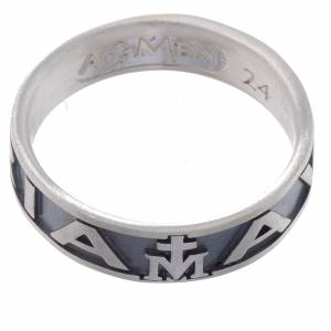 Ring AMEN Hail Mary silver 925, Burnished finish s2