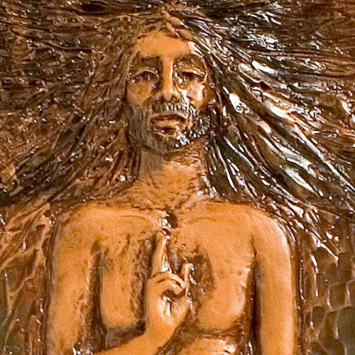 Risen Christ in majolica backed with wood, 15th station s2