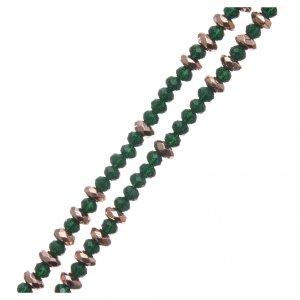 Rosario arg 925 cavetto palline cristallo verde cipollina rondelle ematite rosé sfaccettata s3