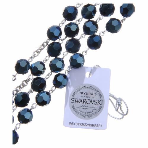 Rosario argento 800 cristallo Swarovski blu 8 mm s3
