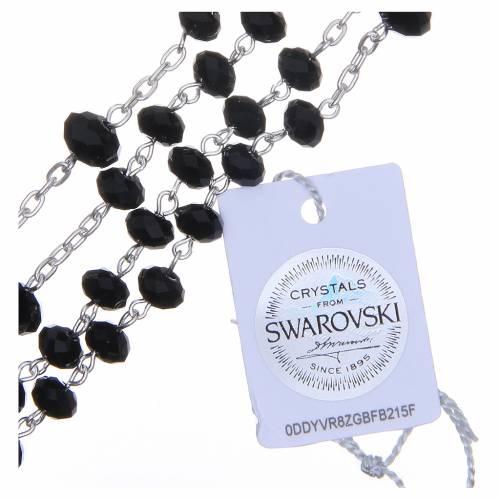 Rosario argento 800 cristallo Swarovski briolette 6 mm nero s3