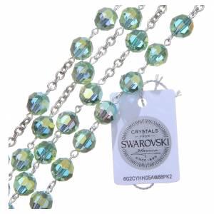 Rosario argento 800 cristallo Swarovski verde 8 mm s3
