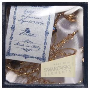 Rosario argento 925 dorato Swarovski oro 4 mm s4