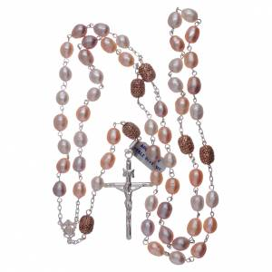 Rosario argento 925 perle fiume 7 mm ovali pater color rosé 7 mm s4