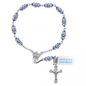 Rosari decina: Rosario decina argento 800 cristallo azzurro