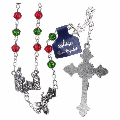 Rosario di Natale in cristallo con libretto preghiere natalizie ITA s2