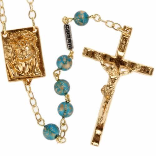 Rosario Ghirelli oro verde Cristo e Madonna con bimbo 6 mm s1