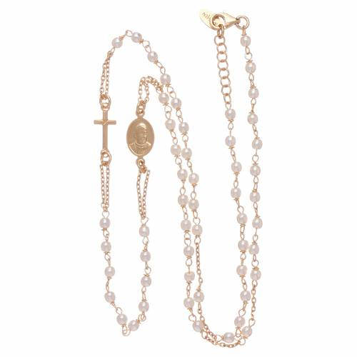 Rosario girocollo AMEN Giubileo argento 925 dorato perle Swarovski s3