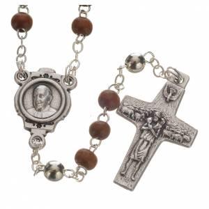 Rosari e Decine: Rosario marrone e croce Papa Francesco