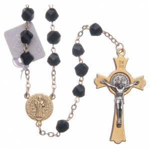 Rosarios y Porta Rosarios Medjugorje: Rosario Medjugorje cristal negro cruz dorada