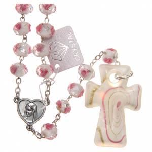 Rosarios y Porta Rosarios Medjugorje: Rosario Medjugorje cruz vidrio Murano blanco rosa