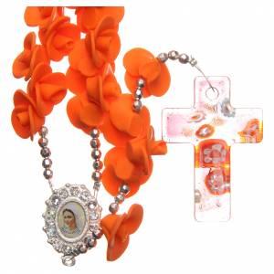 Rosarios y Porta Rosarios Medjugorje: Rosario Medjugorje rosas naranjas cruz vidrio Murano