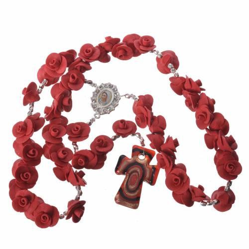 Rosario Medjugorje rose rosse croce vetro Murano s4