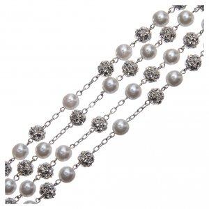 Rosario messicano del matrimonio argento 925 palline perla e strassball 8 mm s3
