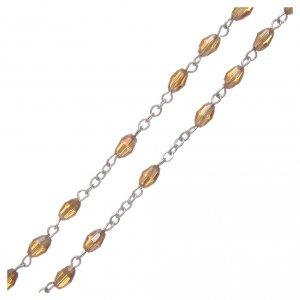 Rosario oro in cristallo con croce e crociera in metallo ossidato s3