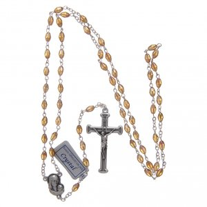 Rosario oro in cristallo con croce e crociera in metallo ossidato s4