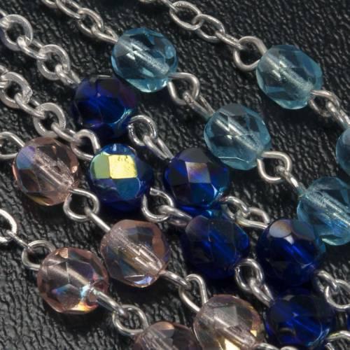 Rosario vidrio Virgen de Gonare azul turquesa rosado s3