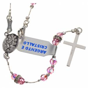 Rosary beads in 800 silver and pink crystal s2
